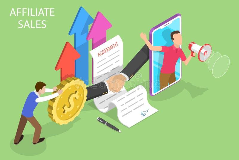 Равновеликая плоская концепция продаж присоединенного филиала, маркетинговая стратегия вектора направления иллюстрация штока
