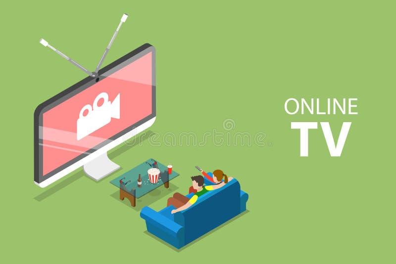 Равновеликая плоская концепция умного ТВ, домашнее развлечение вектора, фильм онлайн иллюстрация вектора