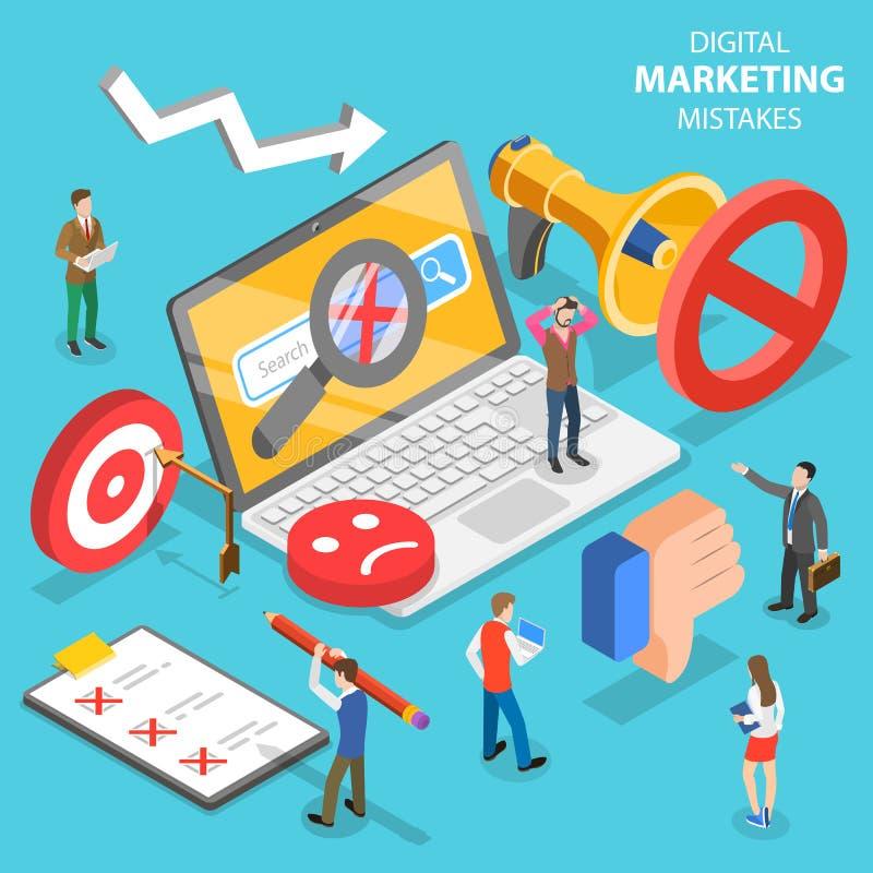 Равновеликая плоская концепция цифровых выходя на рынок ошибок, неправильная стратегия вектора бесплатная иллюстрация