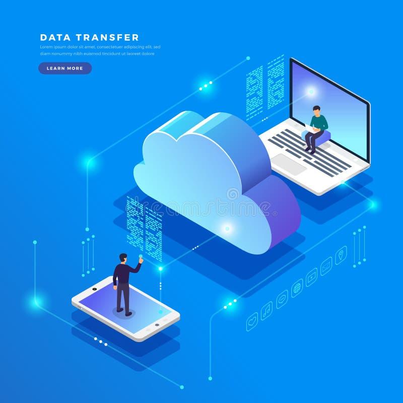 Равновеликая плоская передача данных технологии облака идеи проекта и иллюстрация вектора