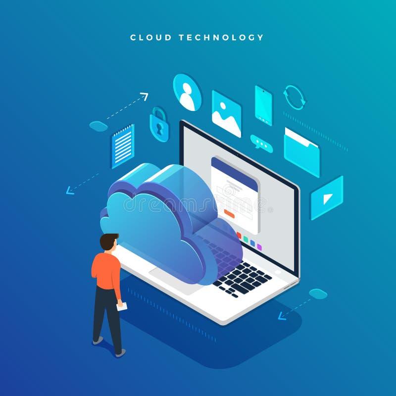 Равновеликая плоская передача данных технологии облака идеи проекта и иллюстрация штока