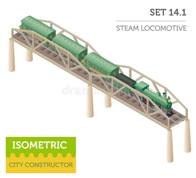равновеликая ретро железная дорога 3d с локомотивом и экипажами пара бесплатная иллюстрация