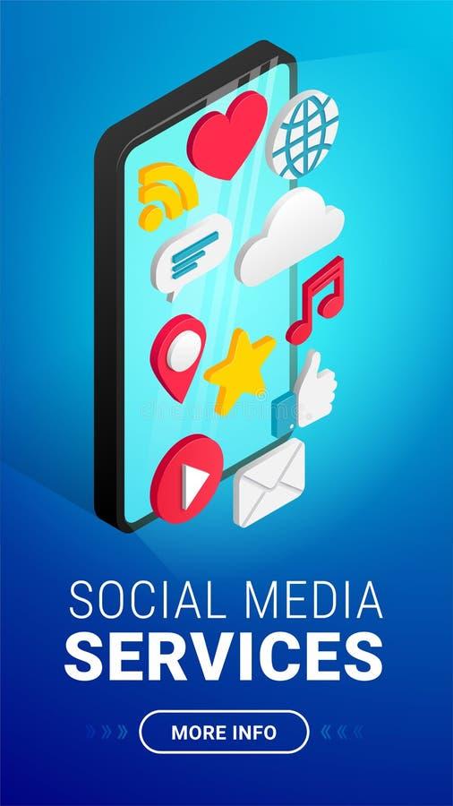 Равновеликая социальная вертикаль текста концепции средств массовой информации иллюстрация вектора