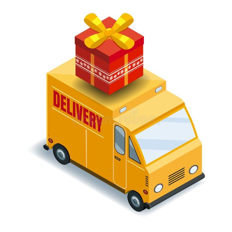 Равновеликая срочная доставка транспорта тележки груза товаров концепции, снабжения Быстрая доставка или логистический переход иллюстрация штока
