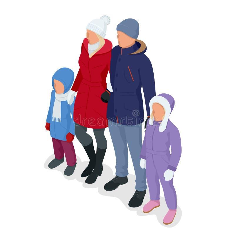 Равновеликая счастливая семья изолированная на белизне иллюстрация вектора
