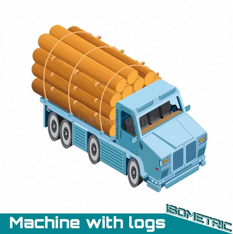 Равновеликая тележка с древесиной входит в систему назад иллюстрация вектора