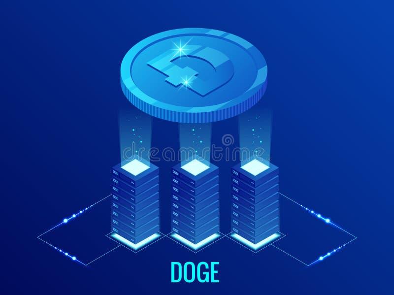 Равновеликая ферма минирования Cryptocurrency ДОЖА Dogecoin Технология Blockchain, cryptocurrency и цифровая сеть оплаты иллюстрация вектора