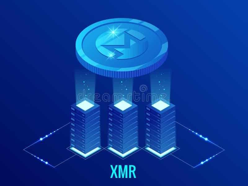 Равновеликая ферма минирования Monero XMR Cryptocurrency Технология Blockchain, cryptocurrency и цифровая сеть оплаты для иллюстрация вектора