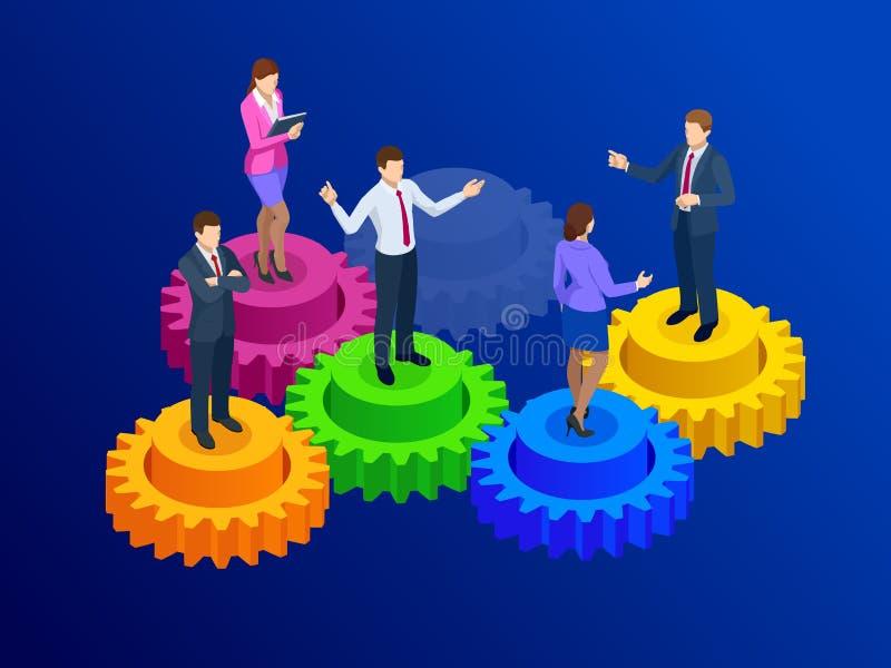 Равновеликие бизнесмены на концепции шестерней, сотрудничества и сыгранности иллюстрация штока