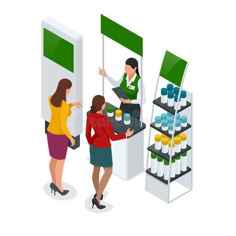 Равновеликие выдвиженческие стойки или выставка стоят включая полки и людей столов дисплея с продуктами и выдаваемым бесплатная иллюстрация