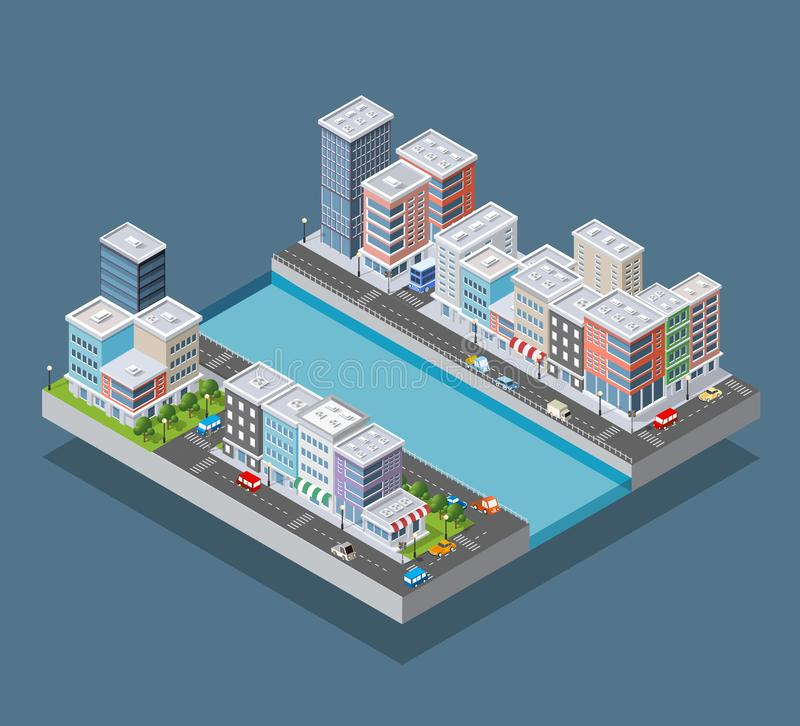 Равновеликий городской квартал иллюстрация штока