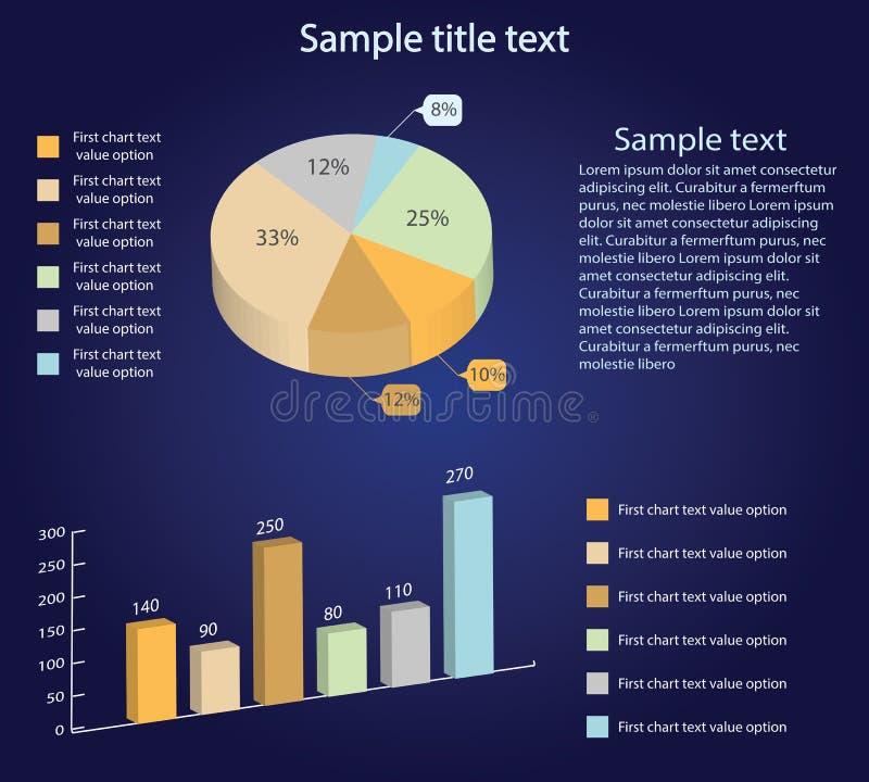 Равновеликие диаграммы вектора 3d Долевая диограмма и диаграмма в виде вертикальных полос Представление Infographic иллюстрация штока
