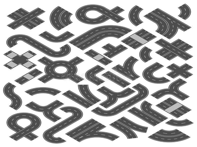 Равновеликие дорога или шоссе Прямо, элементы изогнутые и скрещивание города улицы дорог для карты путешествием vector иллюстраци иллюстрация вектора