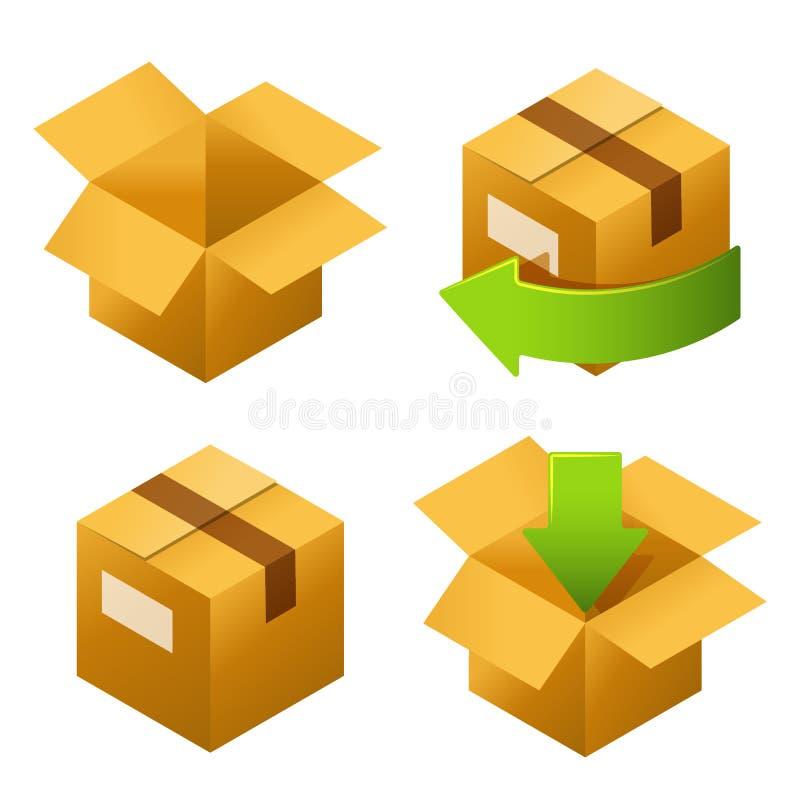 Равновеликие картонные коробки установили значки Поставка и свободно возвращение подарков или пакетов иллюстрация вектора