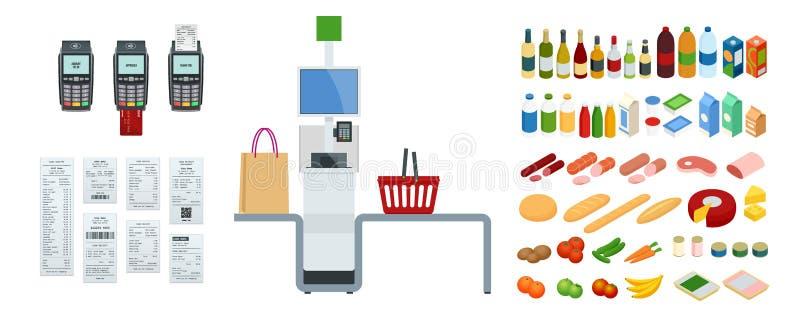 Равновеликие кассир или терминал самообслуживания Пункт с самообслуживанием оформляет заказ в супермаркете иллюстрация вектора