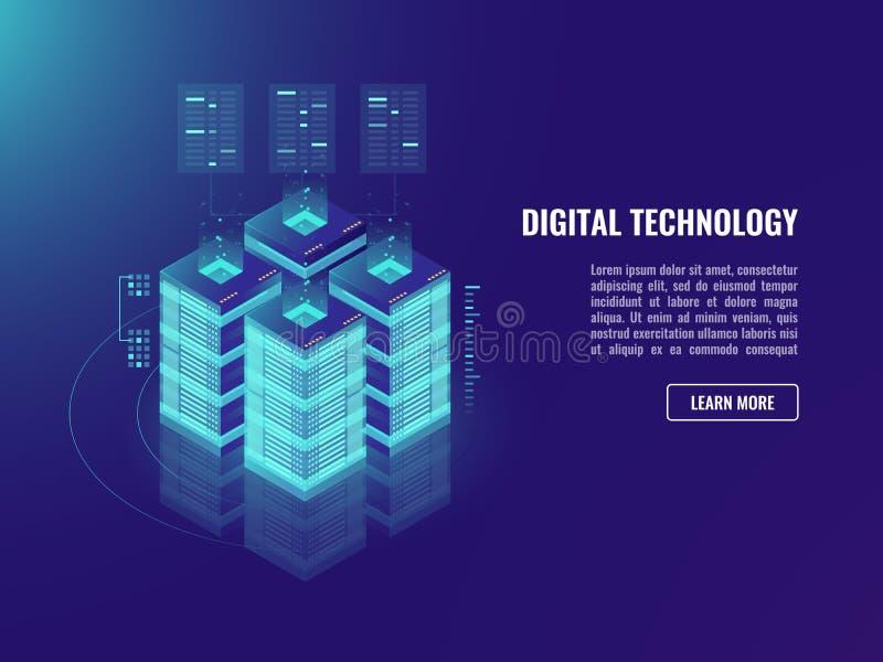 Равновеликие концепция комнаты сервера vecotr, хранение облака, информационное хранилище и обрабатывать, знамя bigdata, неоновая  бесплатная иллюстрация