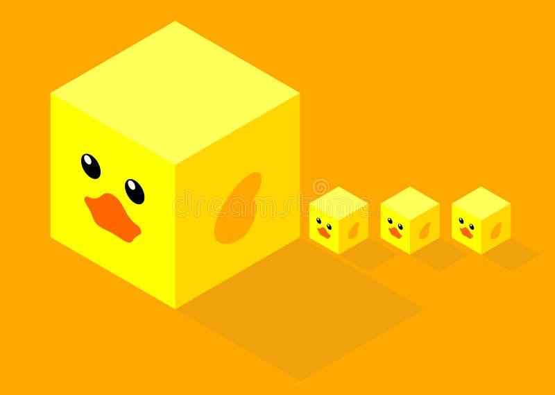 Равновеликие кубы с мамой и 3 утки плоского дизайна милой немного стоковая фотография rf