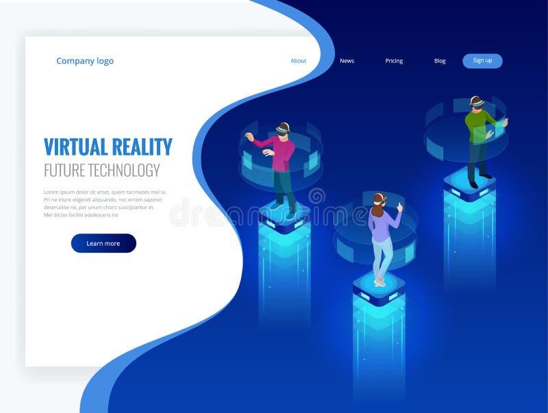 Равновеликие люди и шлемофон изумлённого взгляда женщины нося с касающим интерфейсом vr В мир виртуальной реальности Будущее иллюстрация вектора