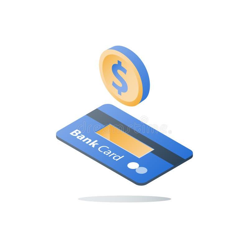 Равновеликие монетка доллара и кредитная карточка, метод оплаты, банковские услуги, задняя часть наличных денег, финансовое решен иллюстрация вектора