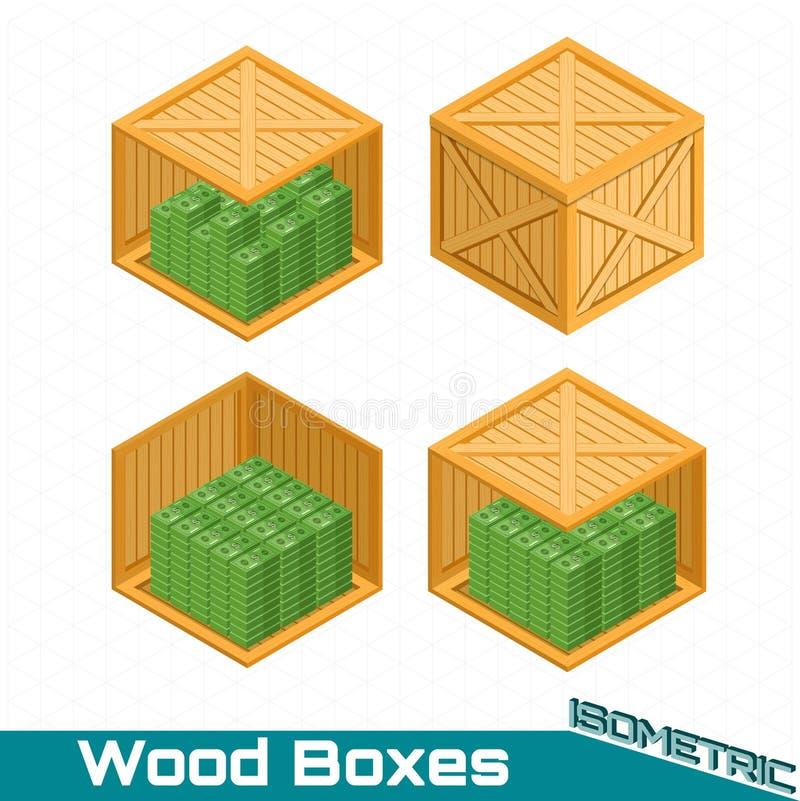 Равновеликие отличающиеся деревянные коробки закрытые и открытые от сторона с пакетом денег на белизне иллюстрация вектора