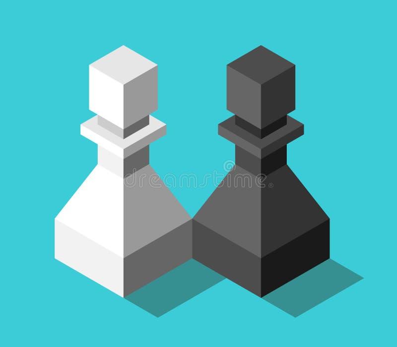 Равновеликие пары различных пешек шахмат, черно-белые Концепция любов, приятельства, партнерства, разницы и отношения иллюстрация штока