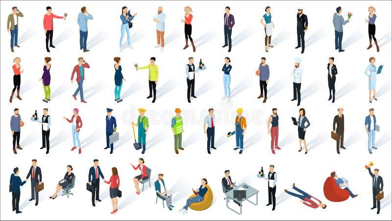 Равновеликие плоские люди вектора дизайна 3d иллюстрация вектора