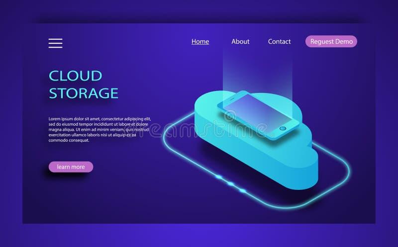 Равновеликие плоские передача данных и хранение технологии облака идеи проекта иллюстрация вектора