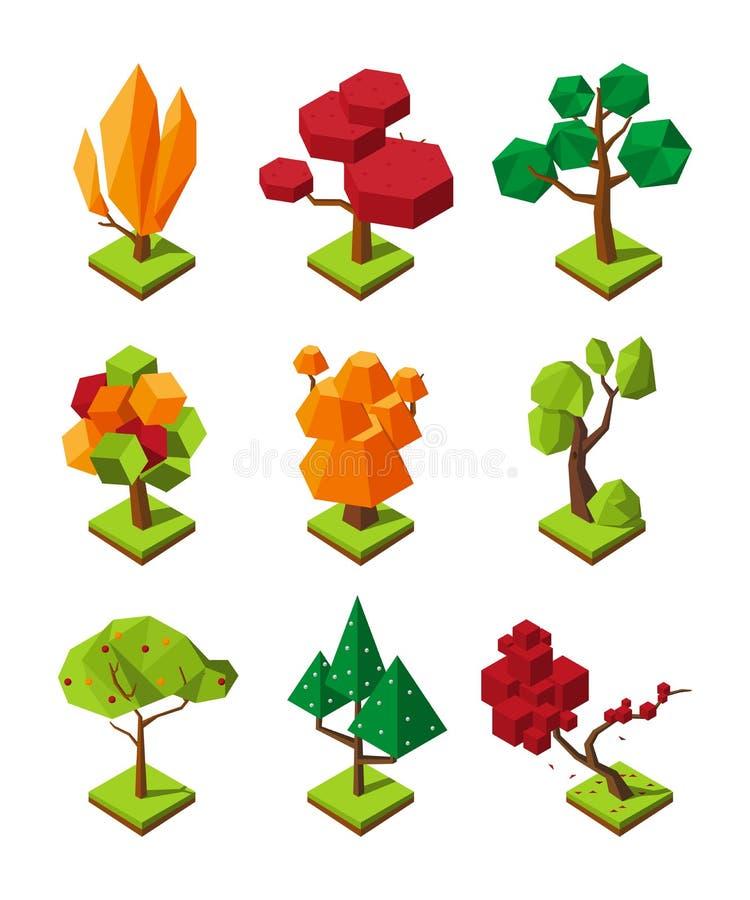 Равновеликие полигональные деревья Изолят деревьев вектора 3D на белой предпосылке иллюстрация вектора