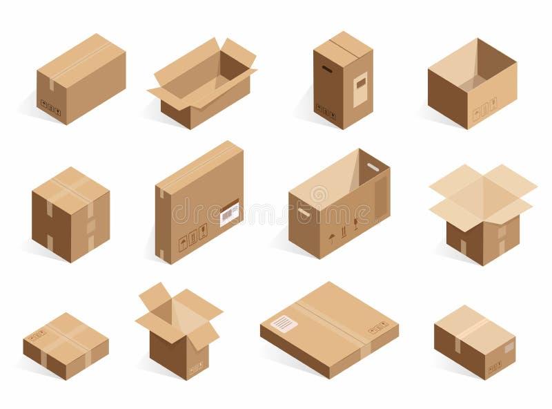 Равновеликие реалистические коробки поставки картона Раскрытая, закрытая логистическая коробка изолированная на белой предпосылке иллюстрация штока