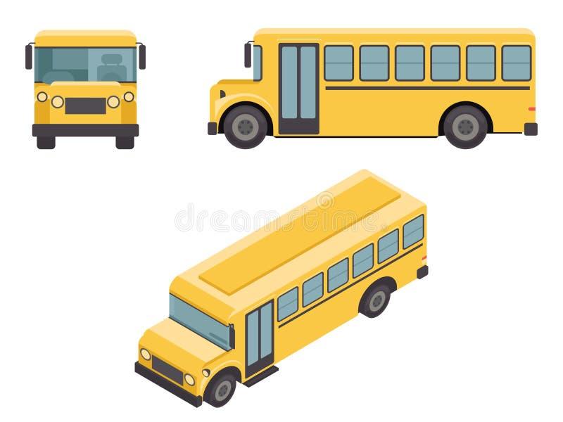 Равновеликие ретро плоские значки автомобиля Buss школы дизайна 3d установили иллюстрацию вектора иллюстрация штока
