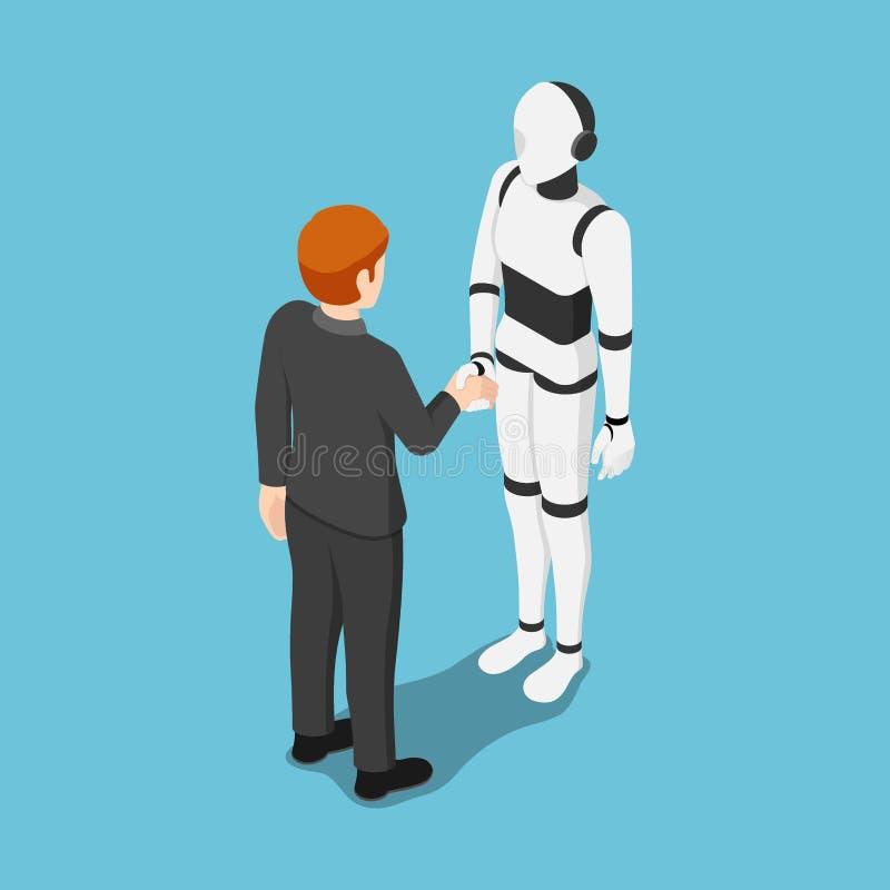 Равновеликие руки встряхивания бизнесмена с роботом ai иллюстрация вектора