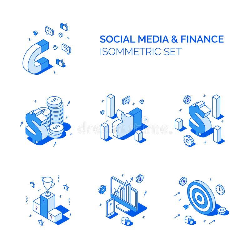 Равновеликие социальные средства массовой информации и набор составов финансов Линия иллюстрации анализ данных вектора стиля 3D,  иллюстрация вектора