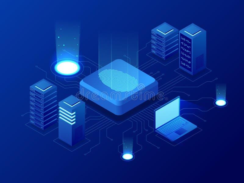 Равновеликие технология Blockchain биометрии и система опознавания скеннирования отпечатка пальцев Биометрическое утверждение и иллюстрация вектора