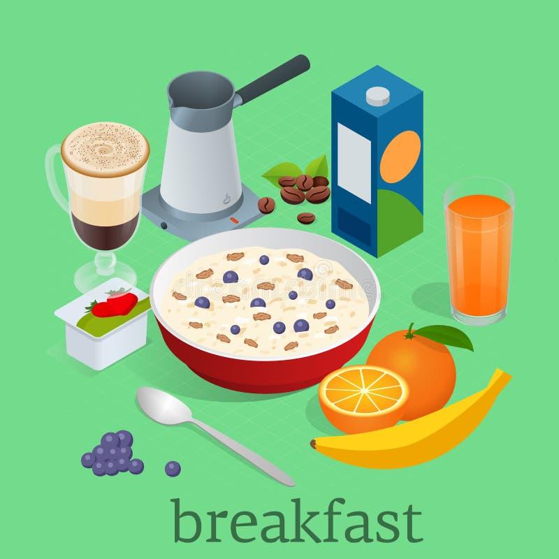 Равновеликие установленные значки завтрака и оборудования кухни Завтрак служил с кофе, апельсиновым соком, овсяной кашей с ягодам иллюстрация штока
