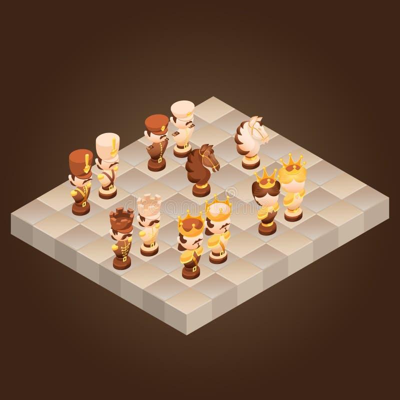 Равновеликие шахматные фигуры шаржа Иллюстрация вектора плоская бесплатная иллюстрация