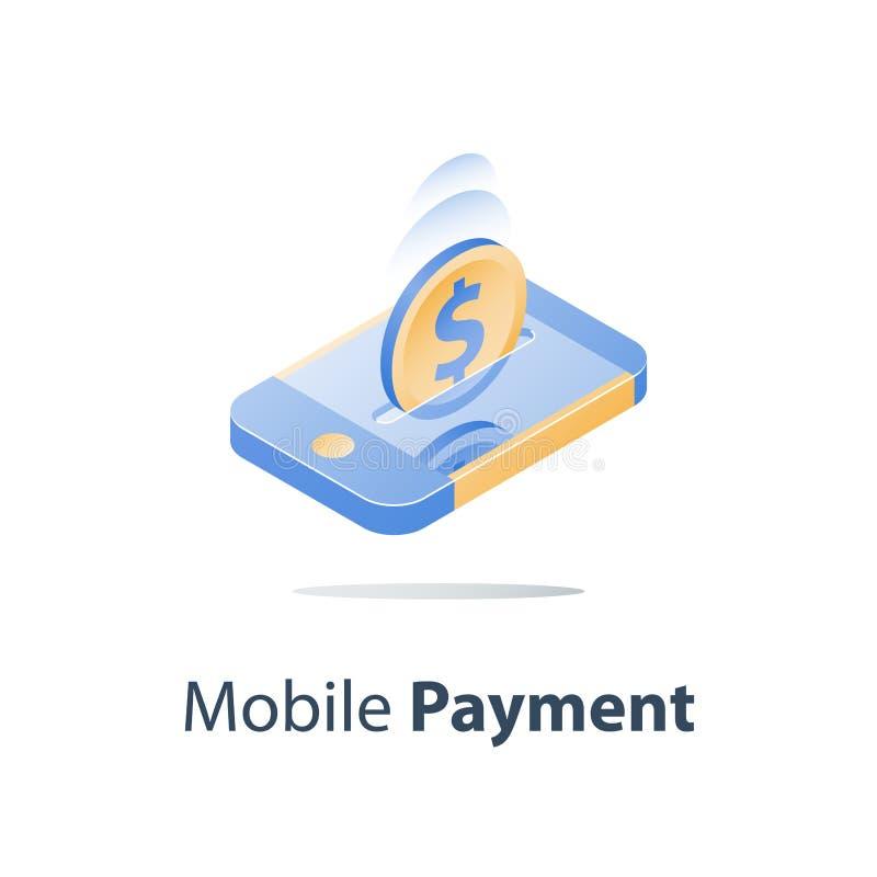 Равновеликие smartphone и доллар чеканят, передвижная оплата, онлайн-банкинг, финансовые обслуживания, посылают деньги бесплатная иллюстрация