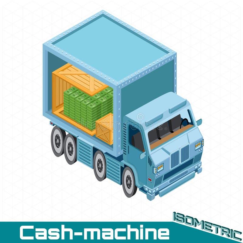 Равновеликий банкомат банка с деревянными коробками с пакетом денег на белизне бесплатная иллюстрация