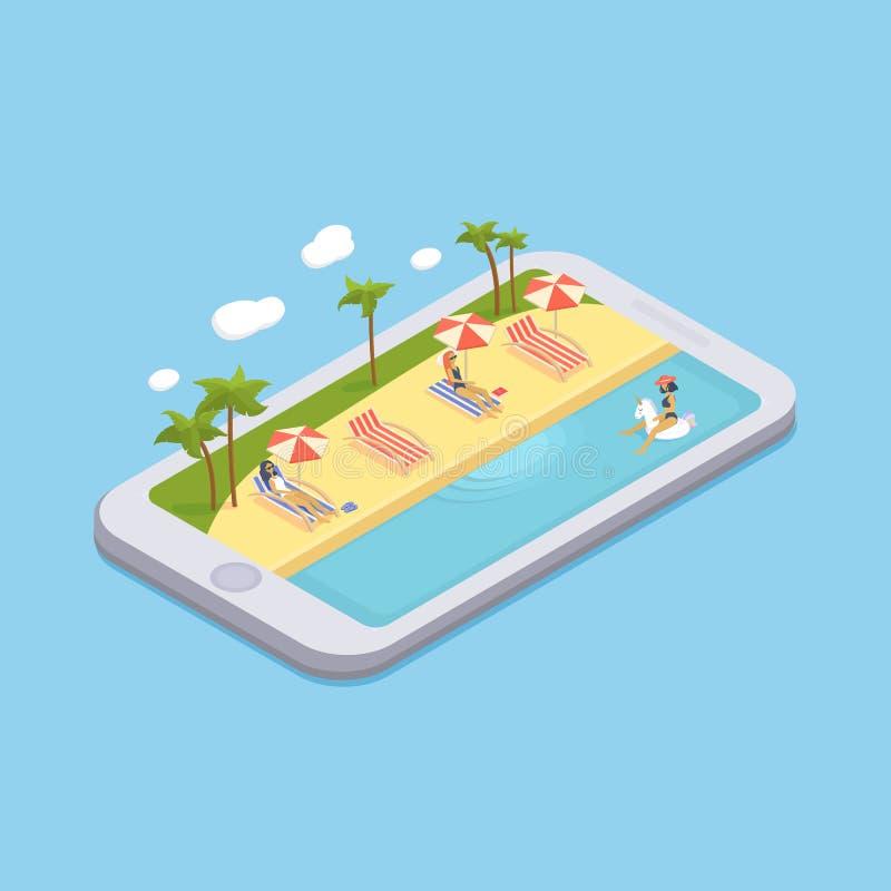 Равновеликий бассейн с салонами фаэтона, зонтиками парасоля, шариками пляжа, ладонями, людьми иллюстрация вектора