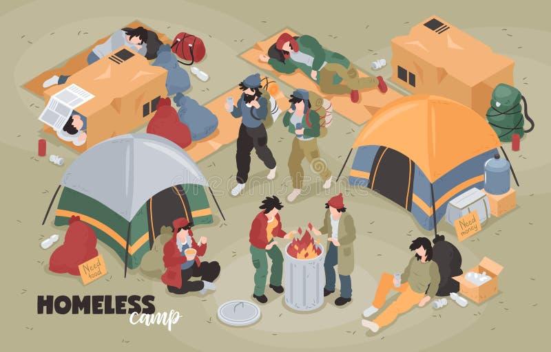Равновеликий бездомный состав лагеря иллюстрация вектора