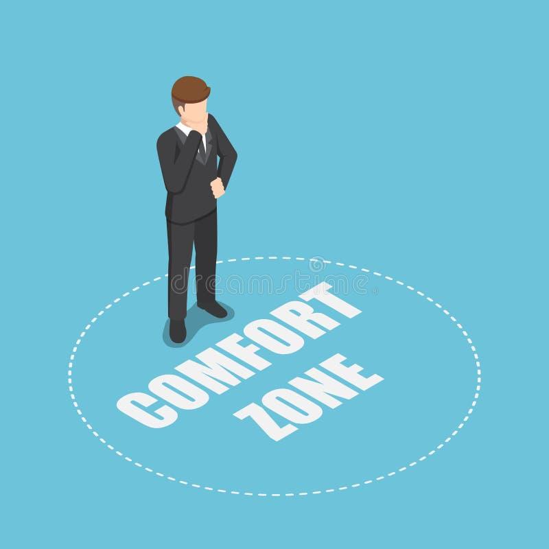 Равновеликий бизнесмен стоя в зоне комфорта бесплатная иллюстрация
