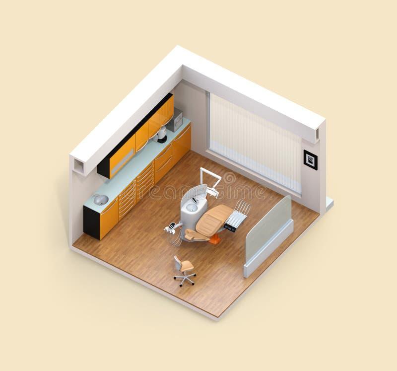 Равновеликий взгляд зубоврачебного интерьера клиники с зубоврачебной системой стула и шкафа бесплатная иллюстрация