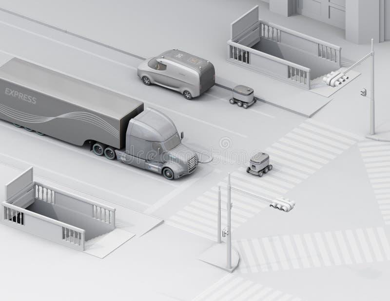 Равновеликий взгляд само-управляя робота доставки пересекая дорогу иллюстрация вектора