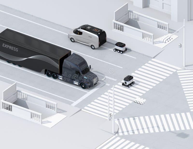 Равновеликий взгляд само-управляя робота доставки пересекая дорогу с пешеходным переходом иллюстрация штока