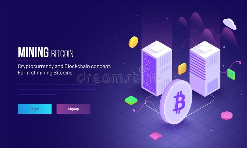 Равновеликий взгляд 2 серверов подключает с betwee символа Bitcoin иллюстрация штока