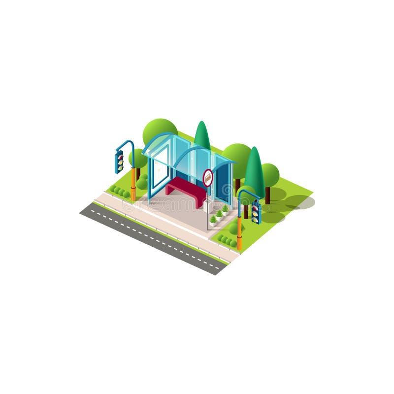 Равновеликий голубой автовокзал иллюстрация штока