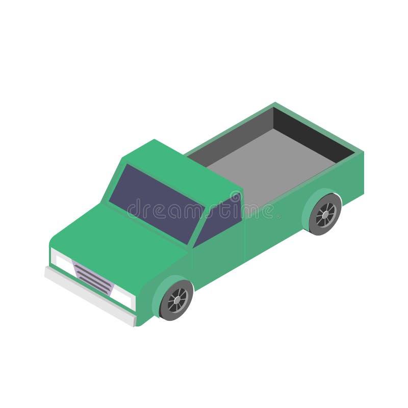 Равновеликий значок автомобиля иллюстрация вектора 3d грузового пикапа изолированная на белой предпосылке бесплатная иллюстрация