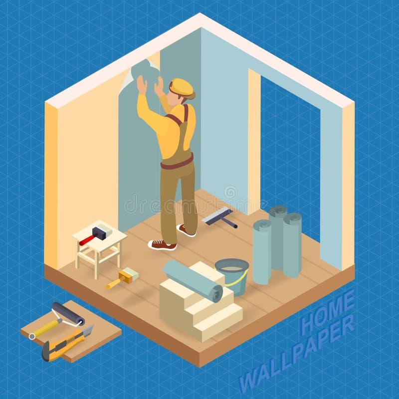 Равновеликий интерьер ремонтирует концепцию Построитель наклеивает стену бесплатная иллюстрация