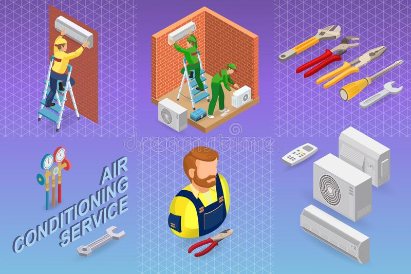 Равновеликий интерьер ремонтирует концепцию Система кондиционера бесплатная иллюстрация