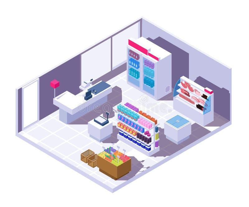 Равновеликий интерьер супермаркета гастроном 3d с продуктами питания бесплатная иллюстрация