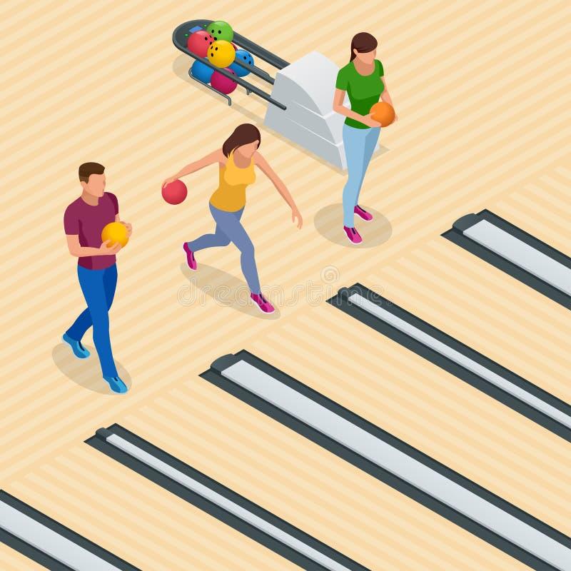 Равновеликий интерьер центра боулинга с оборудованием игры Кегельбан вектора для игры и партии бесплатная иллюстрация
